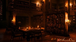 OLD LIBRARY AMBIENCE: Rain Sounds, Book Sounds, Writing Sounds, Candle Flame Crackle