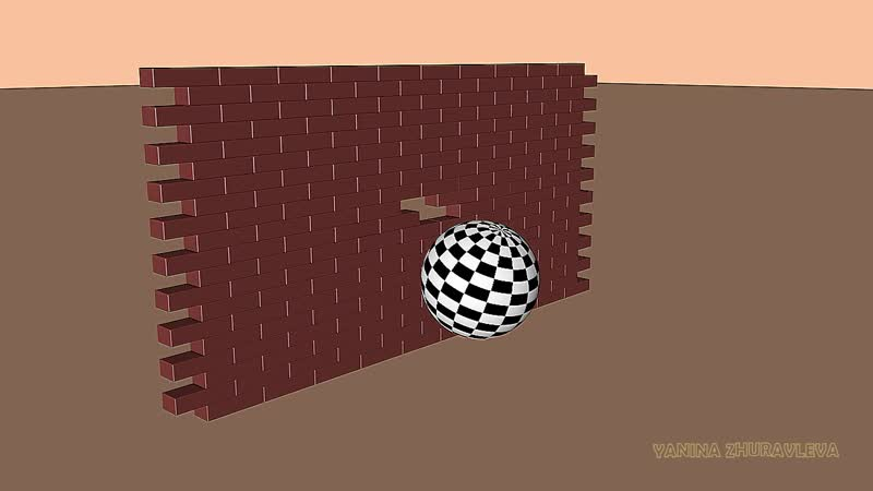 3Д РОЛИК Динамика Сфера разбивает кирпичную стену