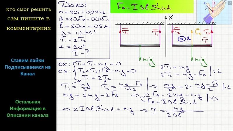 Физика Средняя часть металлического стержня массой 40 г подвешенного горизонтально на двух проводах