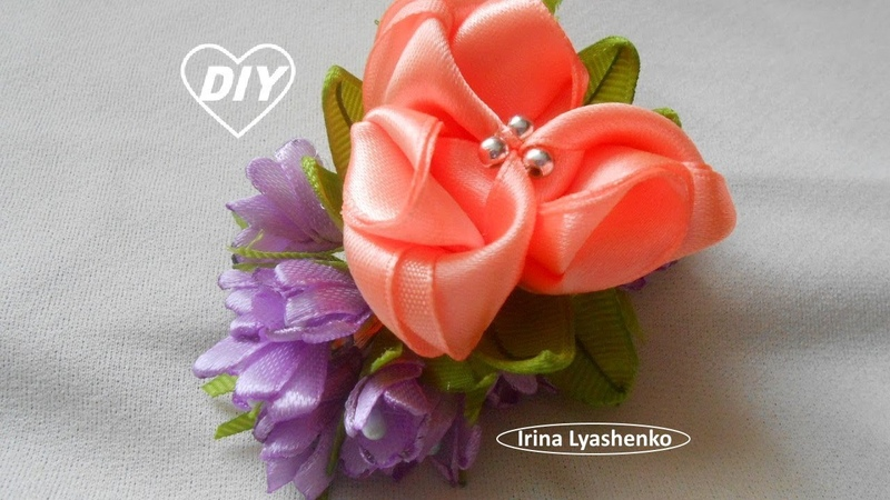 Цветок канзаши на зажим или брошь МК DIY Flower clip brooch РАР Flor clip broche 222
