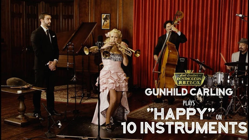 Happy Pharrell Williams on 10 Different Musical Instruments Cover ft Gunhild Carling