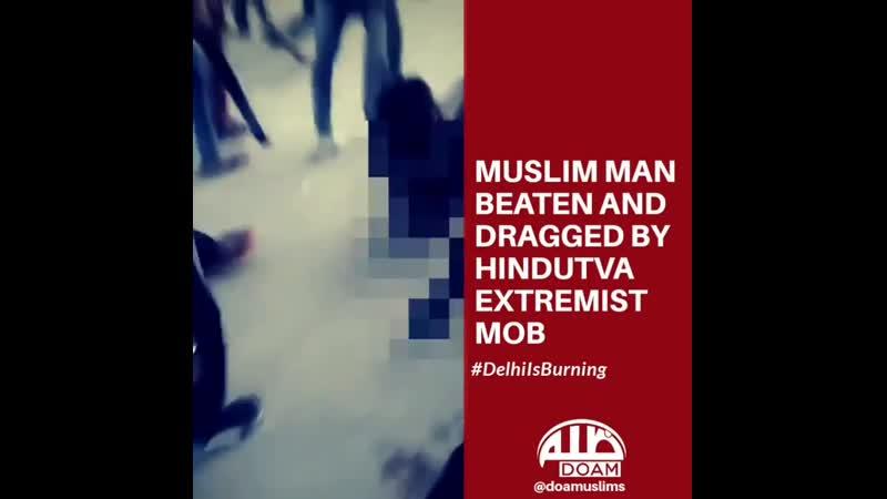 Un homme musulman de DelUn musulman brutalement battu et traîné par une foule extrémiste hindoue en scandant Jai Sri Ram