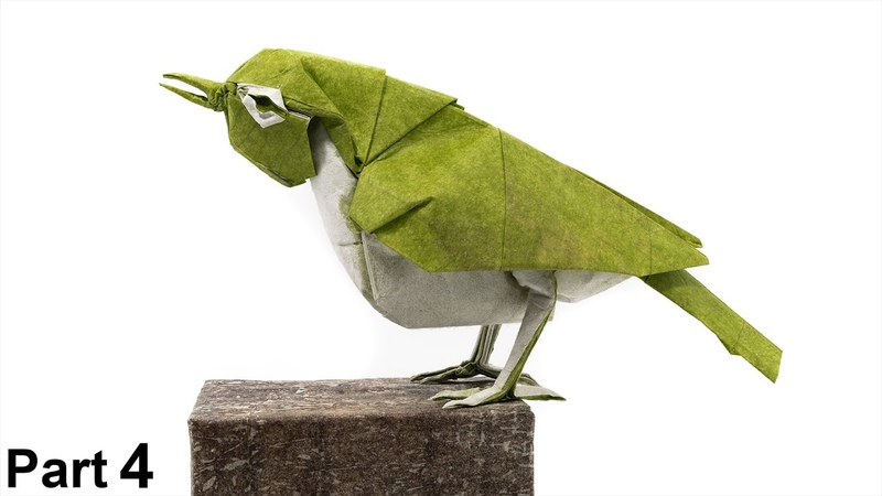 Origami Japanese White-eye tutorial 4K (Satoshi Kamiya) part 4 折り紙 メジロ Mejiro bird