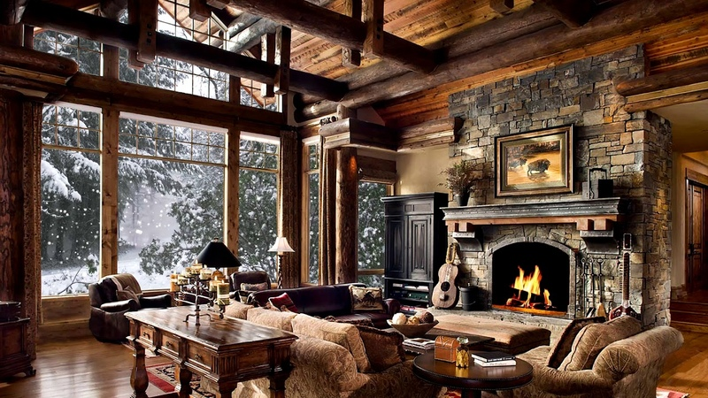 Winter Christmas Snow falling, Fire crackling sound, Cosy