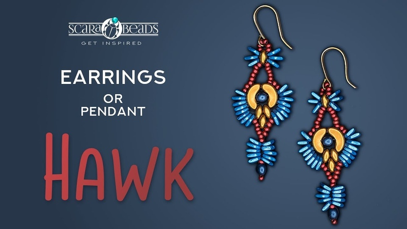 DIY Jewellery Making Tutorial Beaded Earrings Hawk from Arcos® Par Puca® and SuperDuo Beads