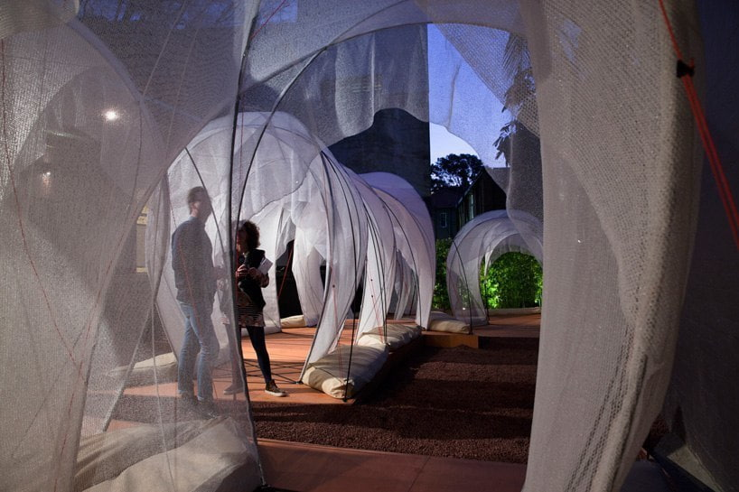 tensile rooftop installation references israel's bedouin tents