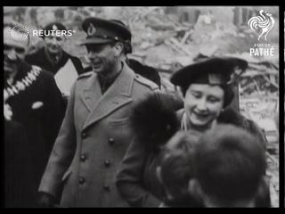 King and Queen visit bombed neighbourhoods (1944)