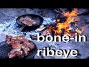 VEAL BONE IN RIBEYE WITH CHIMICHURRY AND BABY POTATOES Outdoors Grilled Steak With Roasted Potatoes