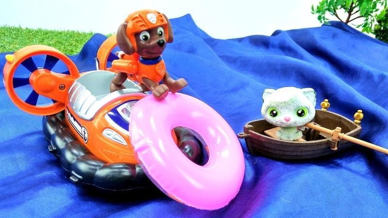 Paw Patrol oyuncakları kediyi kurtarıyor. Su oyunları.