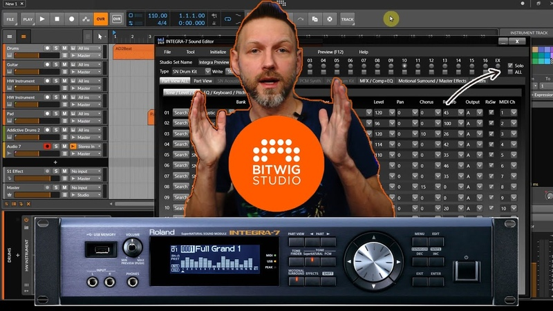 Bitwig Studio работа с внешним модулем Roland INTEGRA 7