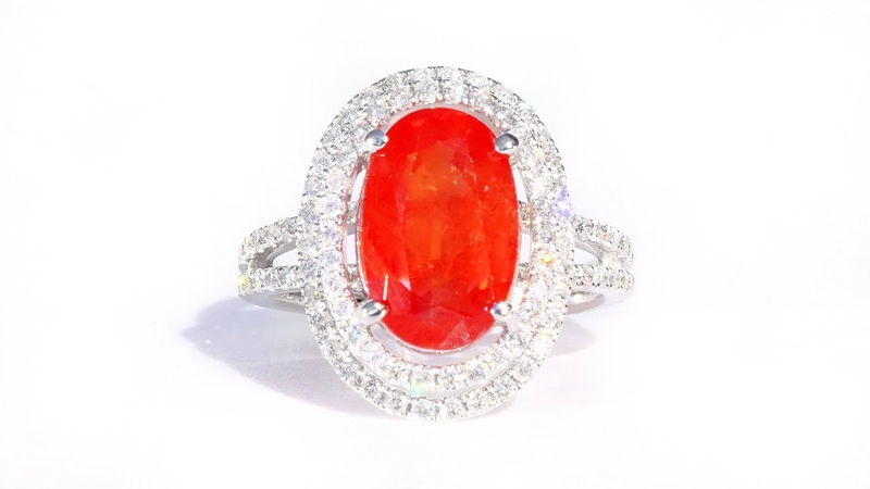 Vintage Vivid Orange Sapphire and Diamond Cocktail Ring 14k White Gold 6.13 tcw Estate Collection
