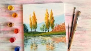 Как нарисовать яркий осенний пейзаж гуашью | Полный пошаговый урок рисования