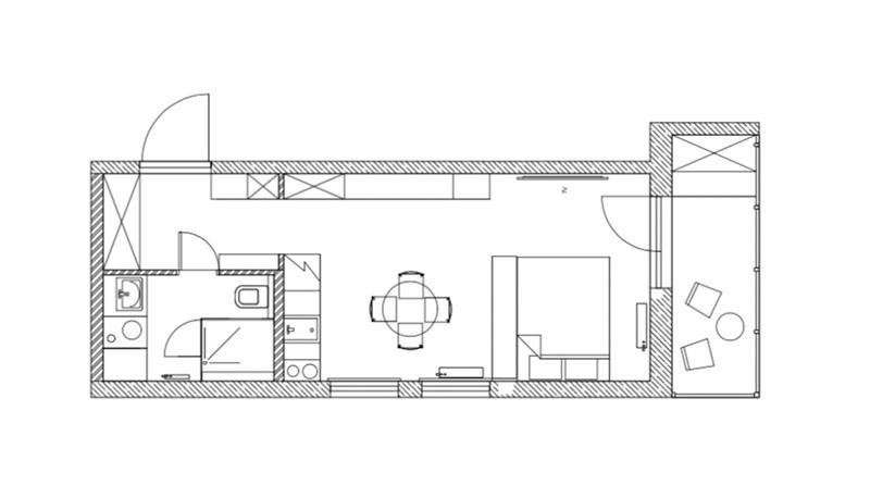 Интерьер квартиры-студии 29 кв.