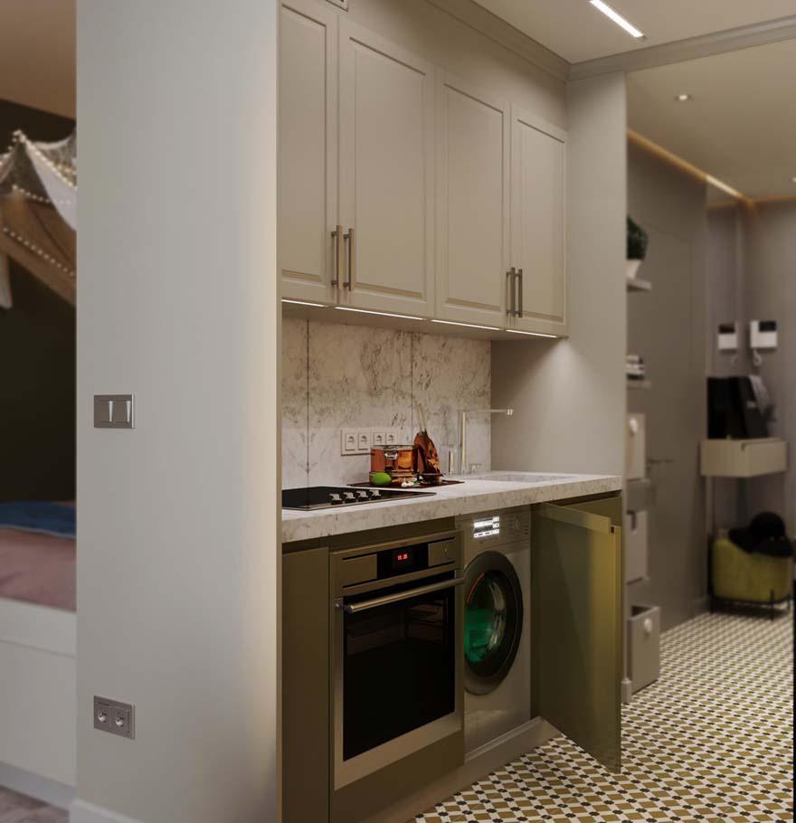 Проект квартиры-студии около 25 м.