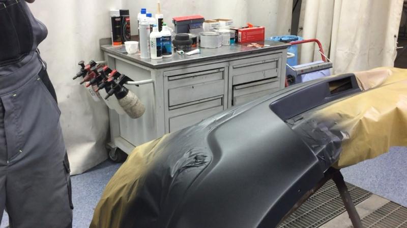 Нанесение Novol Cobra с эффектом структурного пластика раптор Новол на бампер