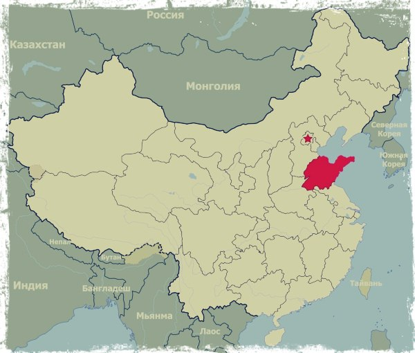 Шаньдун на карте Китая