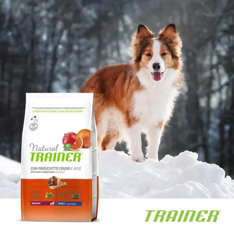 Сухой корм Trainer® Natural Medium with Dry-cured ham and Rice с сыровяленой ветчиной и рисом для собак средних пород