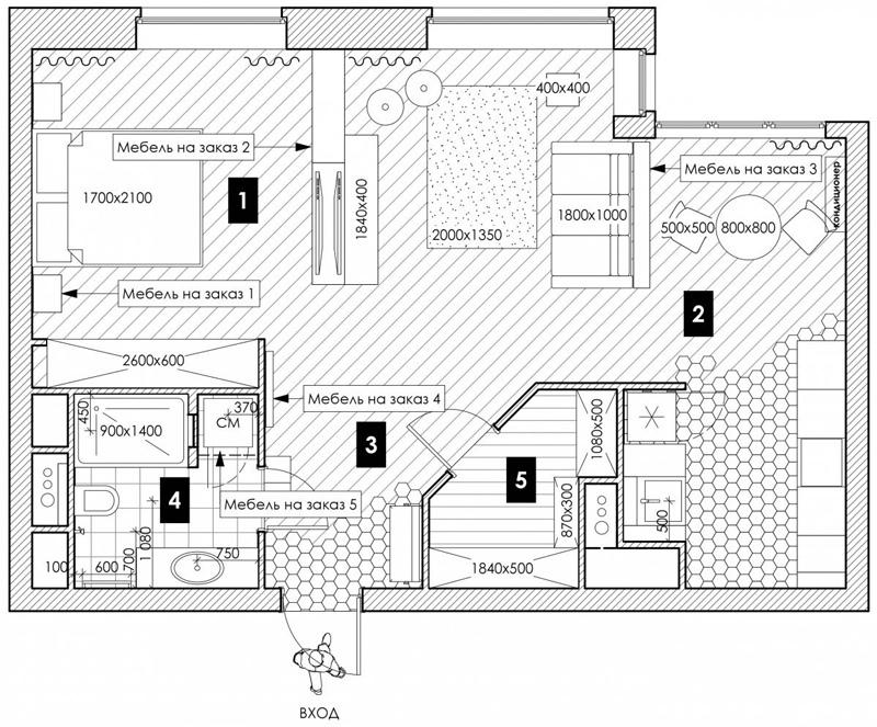 Проект квартиры 60 м.