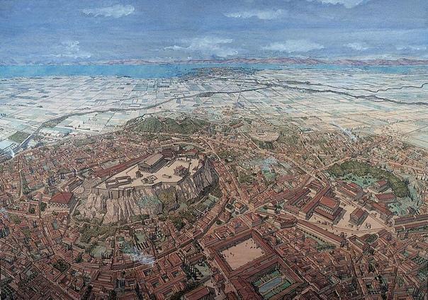 Афины в классическую эпоху. Вид с северной стороны на юг. Можно видеть Длинные стены, связывавшие город с морем, главную гавань Пирей и гладь Саронического залива. Реконструкция Жана-Клода Гольвина.