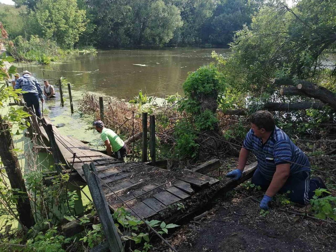 В селе Сосновоборское восстановили подвесной мост через пруд