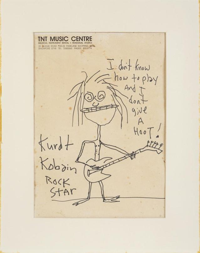 Рисунок с карикатурным автопортретом Курта Кобейна был продан на аукционе за чет...