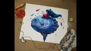 Рыба-луна - процесс создания акварельной иллюстрации