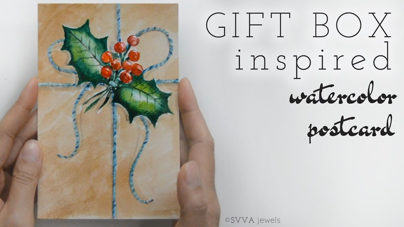 Gift Box Inspired Watercolor Brown Paper Holly Berry - Winter, Holiday, Christmas Postcard