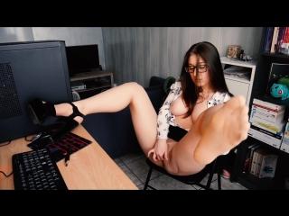 Trish Collins - Foot Fetish Spying Office Slut (1080p) Amateur, Teen, Solo, Role Play, Masturbation, Fingering