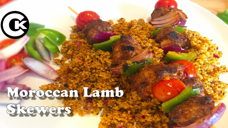 Moroccan Lamb Skewers with Moroccan couscous