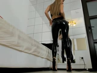 Blonde sexy hot Camgirl in Wetlook Shiny Pvc Leather Vinyl Pants